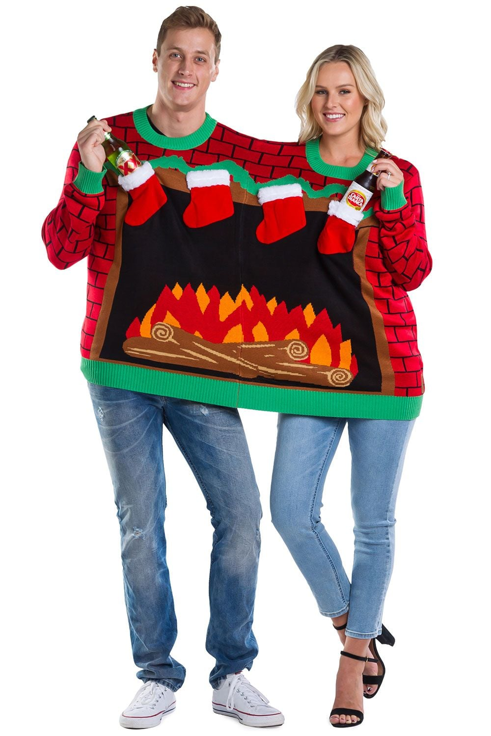 2 Person Christmas Sweater.Fireplace Two Person Ugly Christmas Sweater Forget The
