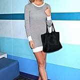 Brooklyn Decker showed off her stems — and debuted her shorter locks — in a striped mini that we're currently obsessing over.