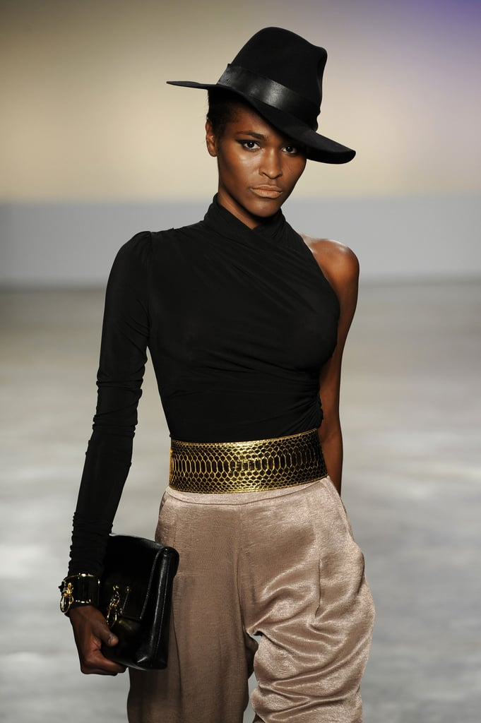 My first thought when I spied this look at Iodice: wear more hats. My second: make use of bold accessories, and invest in a fabulous gold belt like this one.