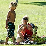 Kingston Rossdale wore his board shorts as he hung out with his mom and brother in the park.