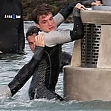 Josh Hutcherson on the set of Catching Fire.