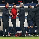 David Beckham celebrated his team's victory against Valencia.
