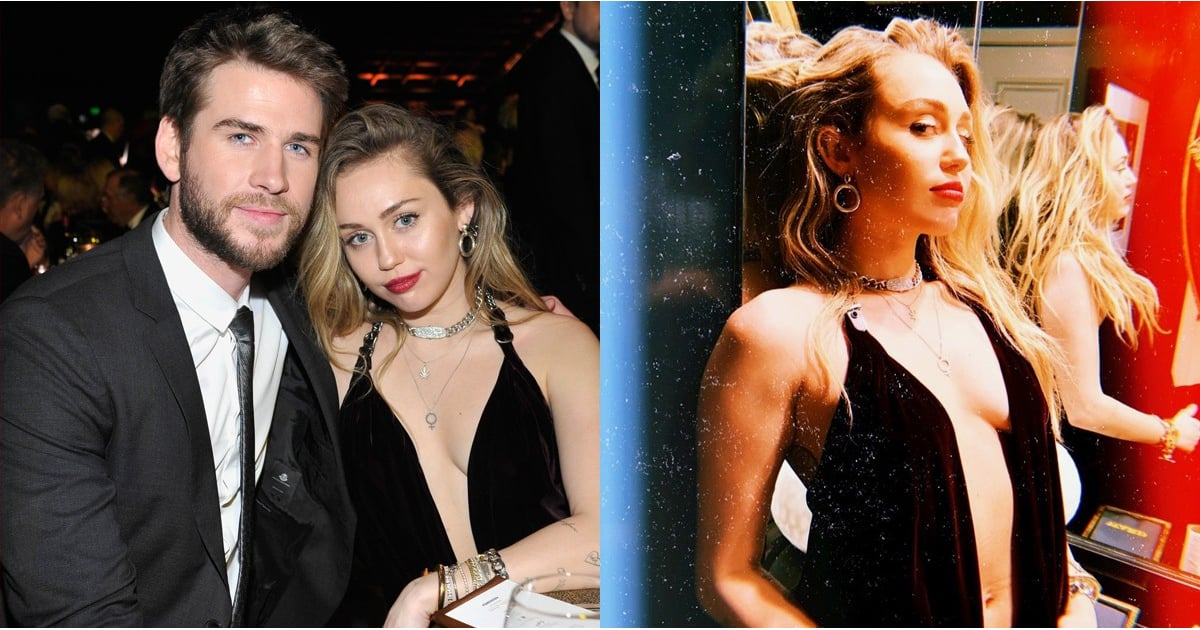11359d9975 When I Say Miley Cyrus's Velvet Dress Plunges Past Her Belly Button, I'm  Not Exaggerating