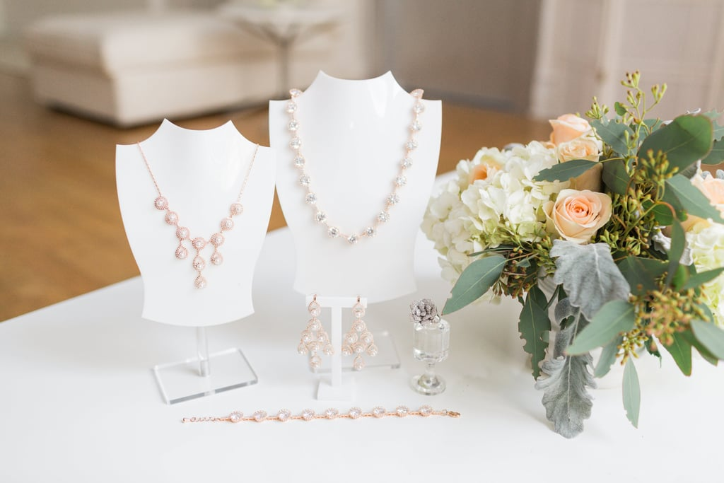 Pick translucent or pearl jewellery to emphasise silver and gold chains.