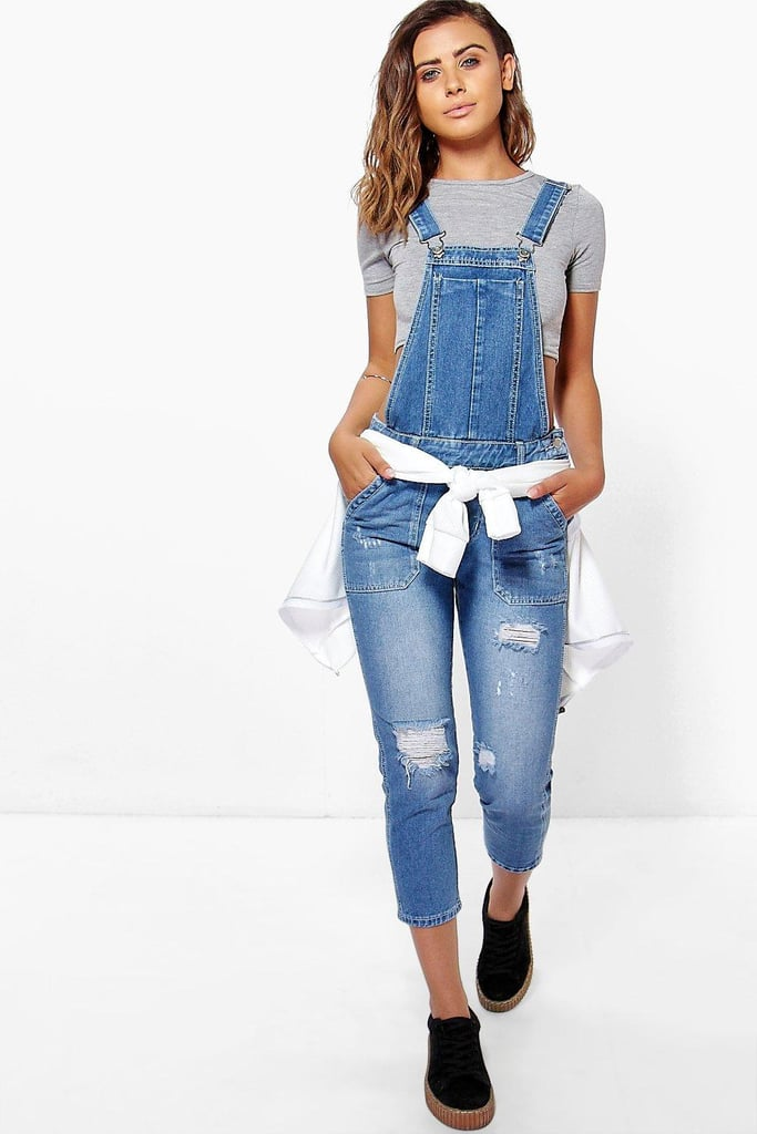 314abedd75a Boohoo Petite Mid Blue Distressed 3 4 Overall