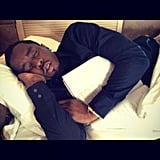 "Diddy took a ""power nap"" on his jet. Source: Instagram user iamdiddy"