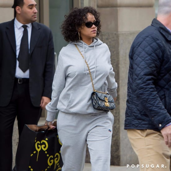 Rihanna Carrying Gucci Graffiti Handbag