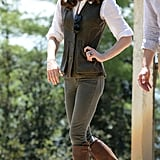 Kate completed her olive denim with her favorite Penelope Chilvers boots and a vest to give off rustic vibes.