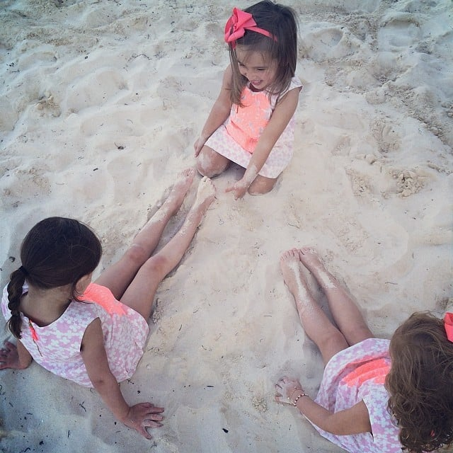 Arabella Kushner had some (matchy, matchy) fun in the sand with her cousins over Spring break. Source: Instagram user ivankatrump