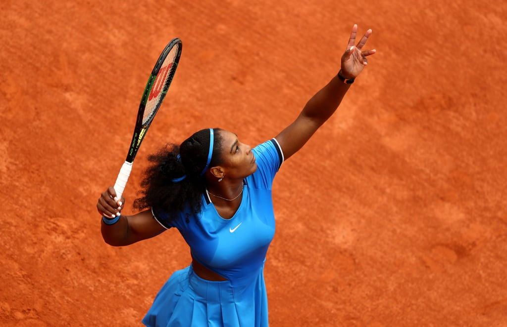 Serena Williams's Blue Dress Was Perfect Against the Clay Courts at the 2016 French Open