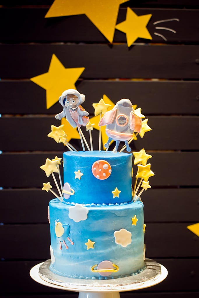 Space cake space baby shower ideas popsugar moms photo 4 for Cake decorations outer space