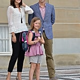 Princess Mary and Prince Frederik looked extremely proud of Princess Isabella as they sent her off on her first day of school at Tranegard in Copenhagen in Aug. 2013.