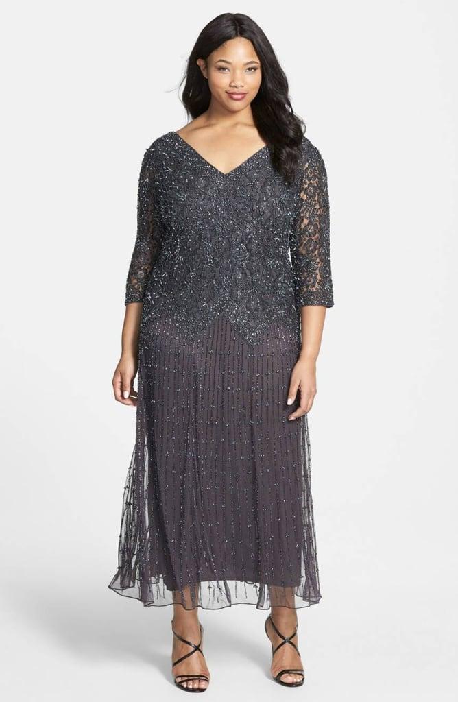 Pisarro Nights Beaded Illusion Gown Plus Size Engagement Dresses
