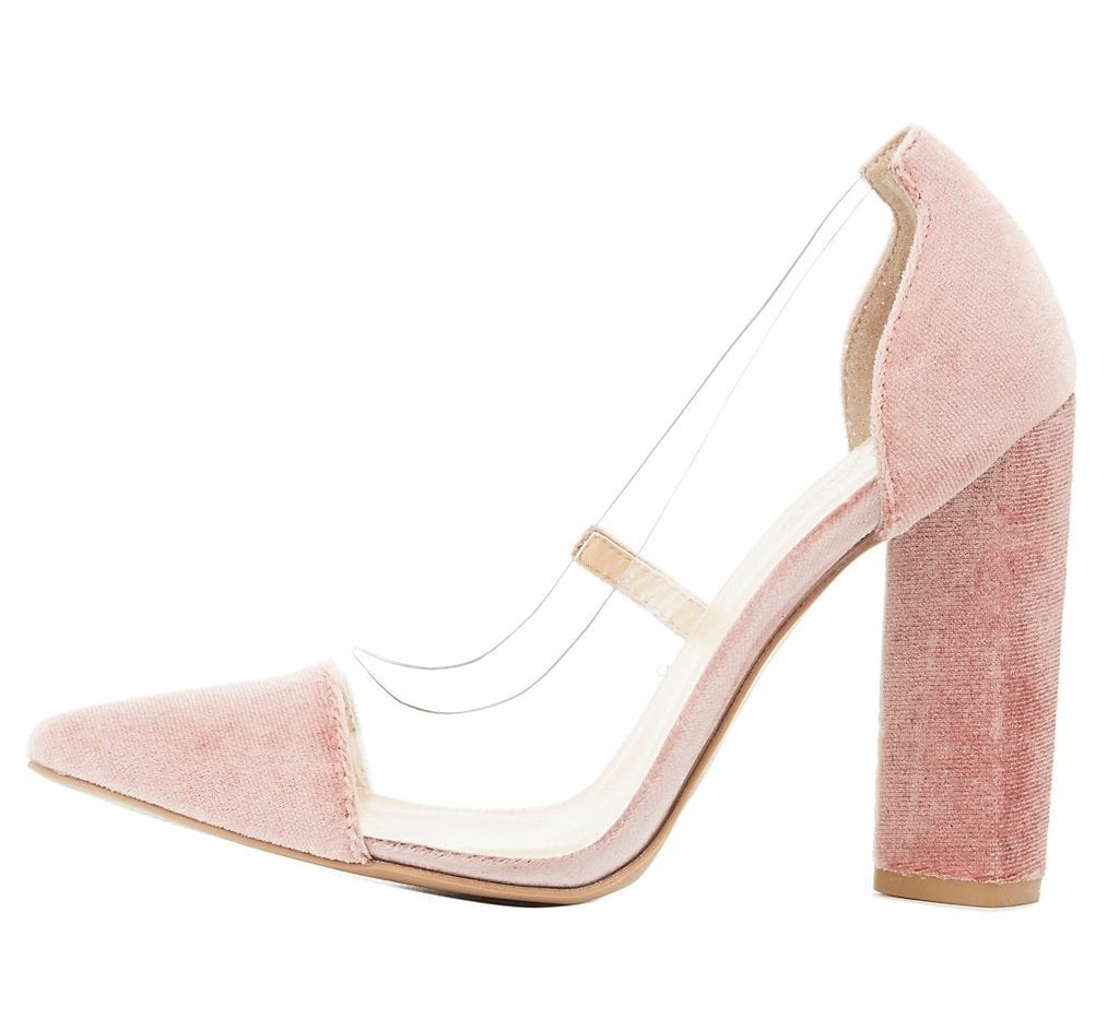 ccbad8a95ee Charlotte Russe Clear and Velvet Pointed-Toe Pumps | Best Heels For ...