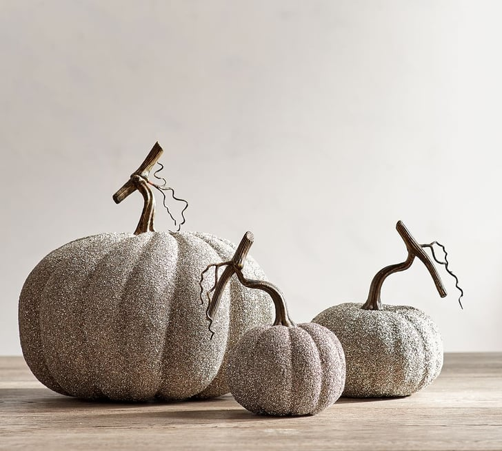 german glitter pumpkins pottery barn halloween. Black Bedroom Furniture Sets. Home Design Ideas