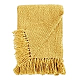 Knit Mustard Throw With Tassels