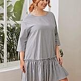 Shein Buttoned-Back Ruffle-Hem Striped Smock Dress