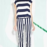 Who said you only need to mix different prints? Stripes on stripes is just as cool.