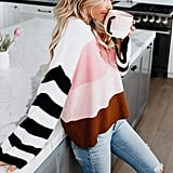 Cordat Casual Crew Neck Color Block Oversized Sweater