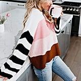Cordat Casual Crew Neck Colour Block Oversized Sweater