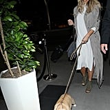 Chrissy's all-gray outfit looked super chic, but her puppy was her best accessory.