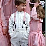 William showed off his sweet outfit while posing with the rest of pink-clad wedding party.