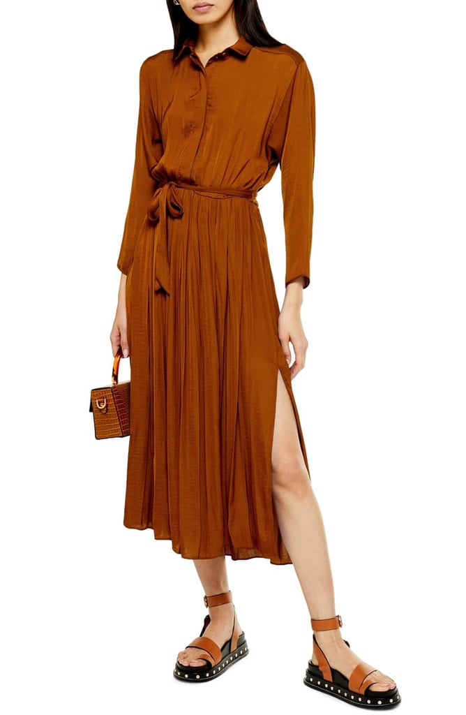 Topshop Satin Pleated Shirtdress