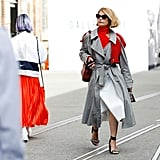 Style a Gray Coat With a Midi Skirt
