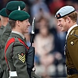 During his trip to Devonport, Prince Harry chatted with Royal Marines and their families.