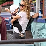 Natalie Portman fed her son Aleph some ice cream.