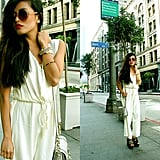 A white jumpsuit feels instantly chic — just add oversized shades and platforms to channel a touch of the disco era, without going overboard. Photo courtesy of Lookbook.nu