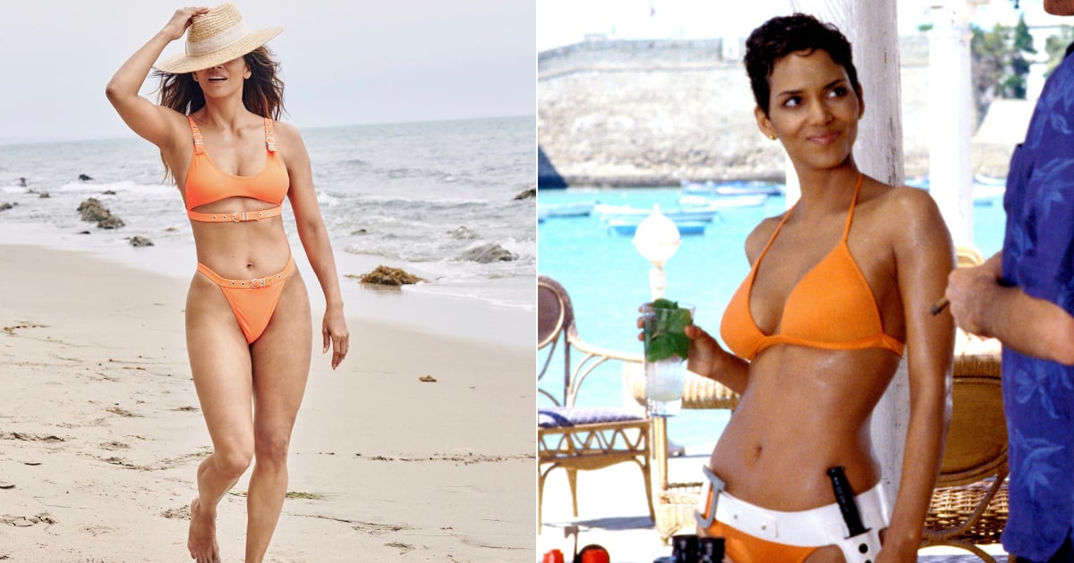 Halle Berry Re-Created Her Iconic James Bond Swimsuit Moment in This $25 Orange Bikini