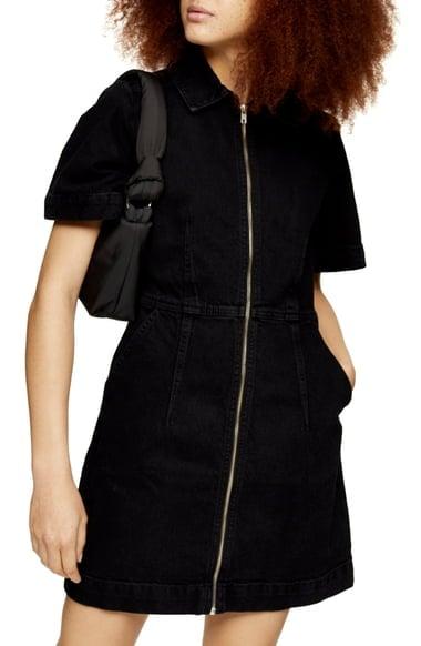 Topshop Washed Black Clean Zip Shirtdress