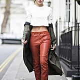 With Low-Slung Leather Trousers