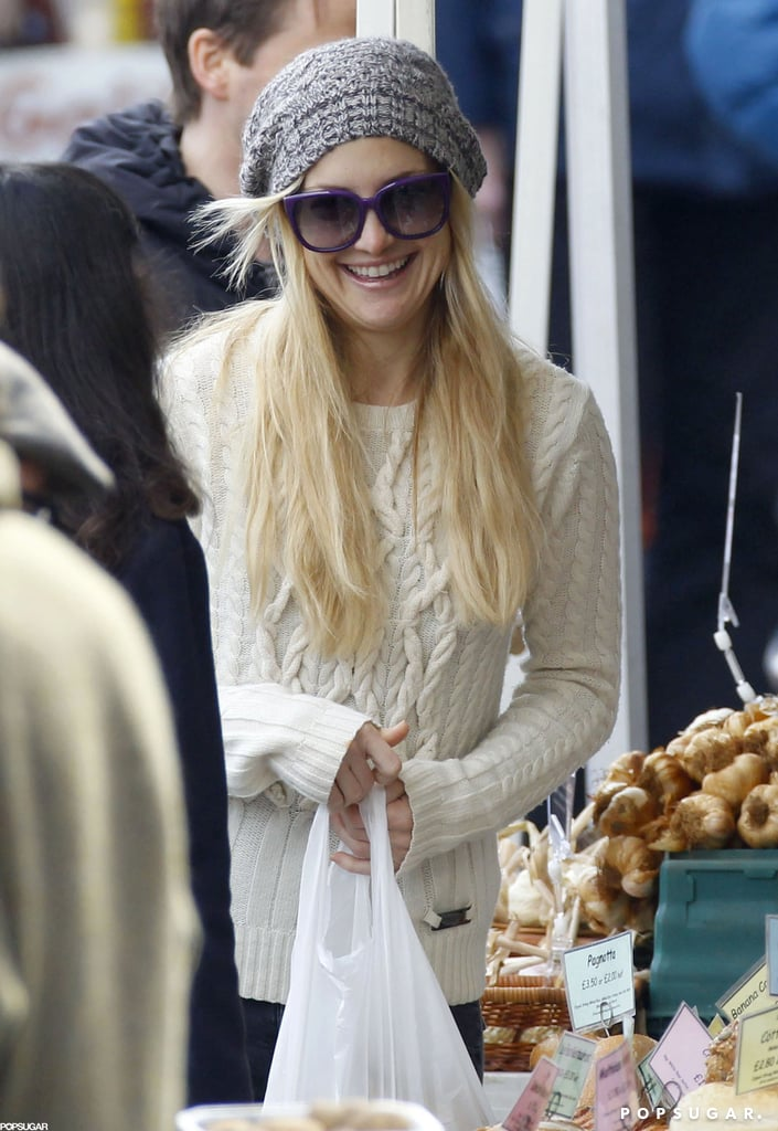 Kate Hudson shopped at a farmers market in London.