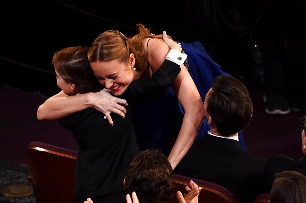 Room stars Brie Larson and Jacob Tremblay shared a sweet hug.