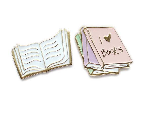 I Love Books Enamel Pin Set
