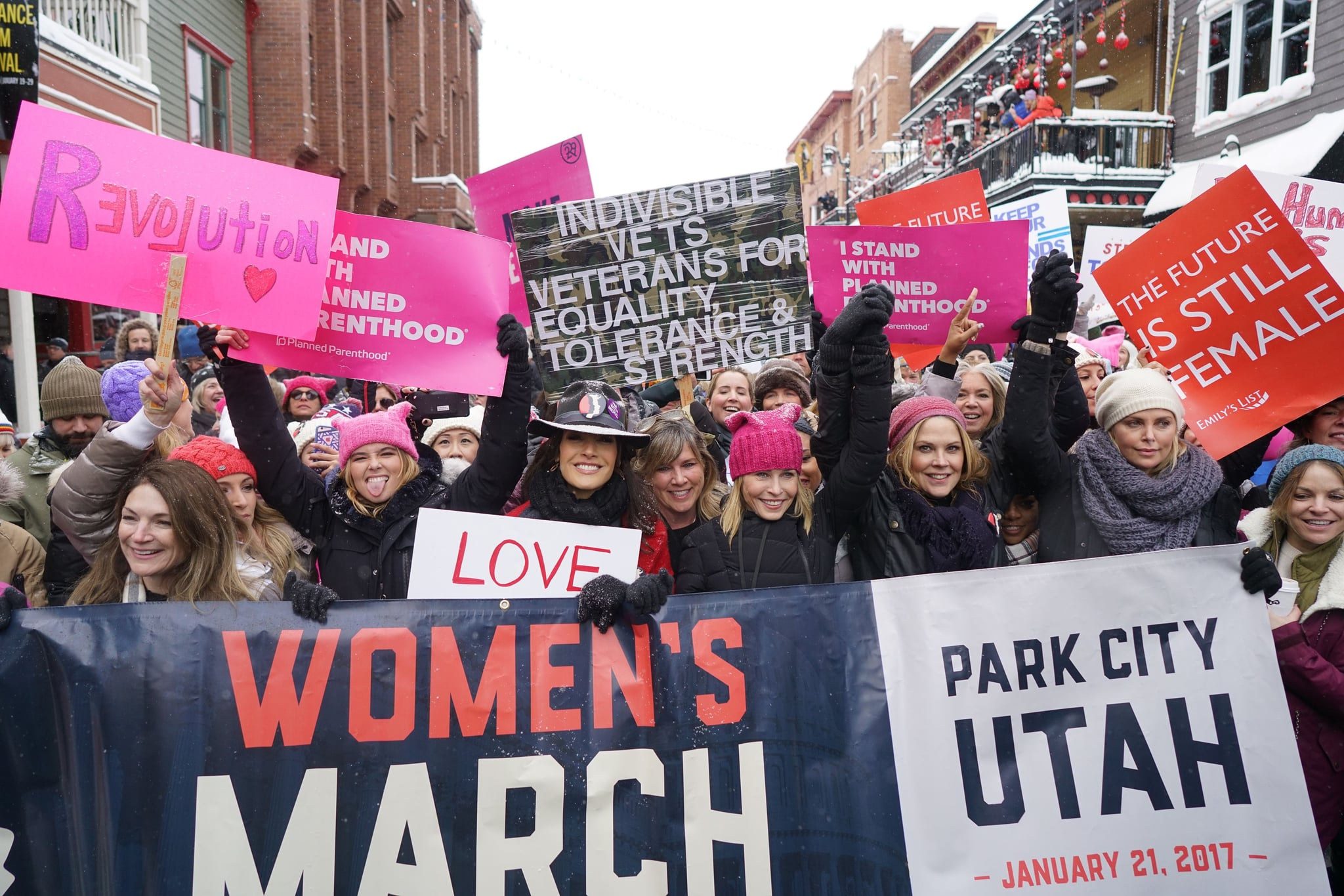Mandatory Credit: Photo by Chelsea Lauren/REX/Shutterstock (7945692az)Zoey Deutch, Jennifer Beals, Chelsea Handler, Mary McCormack, Charlize TheronWomen's solidarity march, Park City, USA - 21 Jan 2017