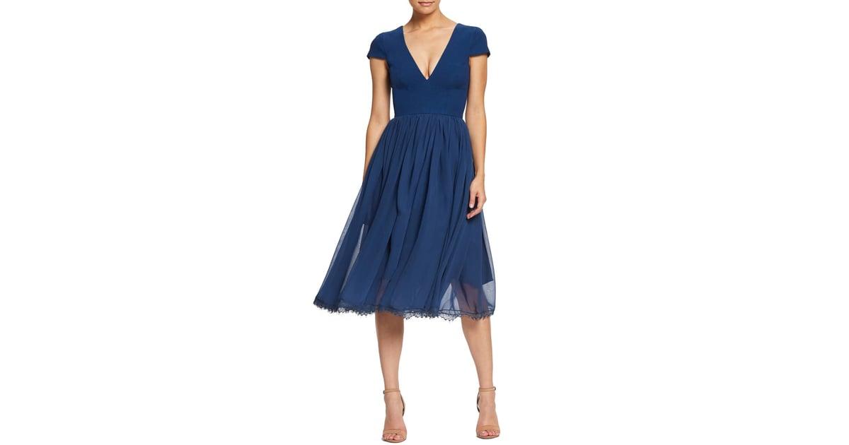 d1e4cc4d435e Dress the Population Corey Chiffon Fit   Flare Dress