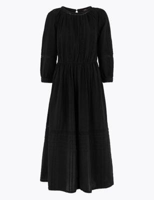 M&S Collection Pure Cotton Lace Trim Waisted Dress