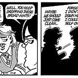 "Mark Slackmeyer in Doonesbury Another Doonesbury character ruffled feathers when he came out in the comic strip in the '90s. The strip followed the relationship of liberal NPR host Mark Slackmeyer and his politically conservative partner, Chase Talbot III, including their onair ""outing"" in 1996, marriage in 1999, and separation in 2007."