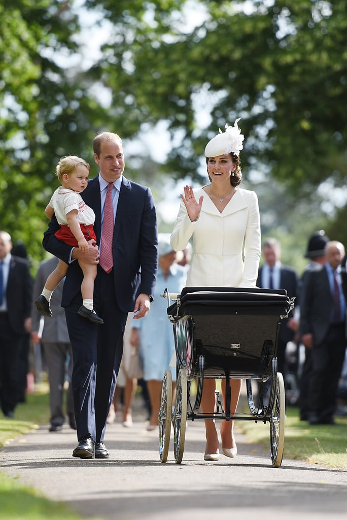 The British royal family gathered for a very special occasion on Sunday: Princess Charlotte's christening! The young royal was christened at the Church of St. Mary Magdalene on Queen Elizabeth II's Sandringham Estate, where the late Princess Diana was baptized. Princess Charlotte, whose five godparents were revealed shortly before the ceremony, wore a replica of the royal christening robe that, until 2004, was used to baptize every royal baby since Queen Victoria's time. It's the same replica that Prince George wore for his baptism in 2013, and she also followed in her big brother's footsteps by using the traditional silver-gilt Lily Font, which has been used for almost all royal baptisms since 1841. Prince William and Kate Middleton were all smiles on their daughter's big day, with Kate wearing a cream outfit for the christening. Although it was a private service for fewer than 30 guests, fans of the royal family who made their way to the church got to see Prince George's adorable arrival with his parents. George's nanny, Maria Teresa Turrion Borrallo, who wore a Mary Poppins-inspired outfit to the ceremony, also kept a close eye on him. Keep reading for all the pictures of the royal family and the Middletons at Princess Charlotte's christening, then see the cutest pictures of Princess Charlotte and her adorable portraits with Prince George.
