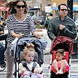 Sarah Jessica Parker and Matthew Broderick hung out in NYC with their two daughters, Tabitha and Loretta.