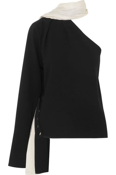 Peter Do One-Shoulder Draped Crepe and Twill Top