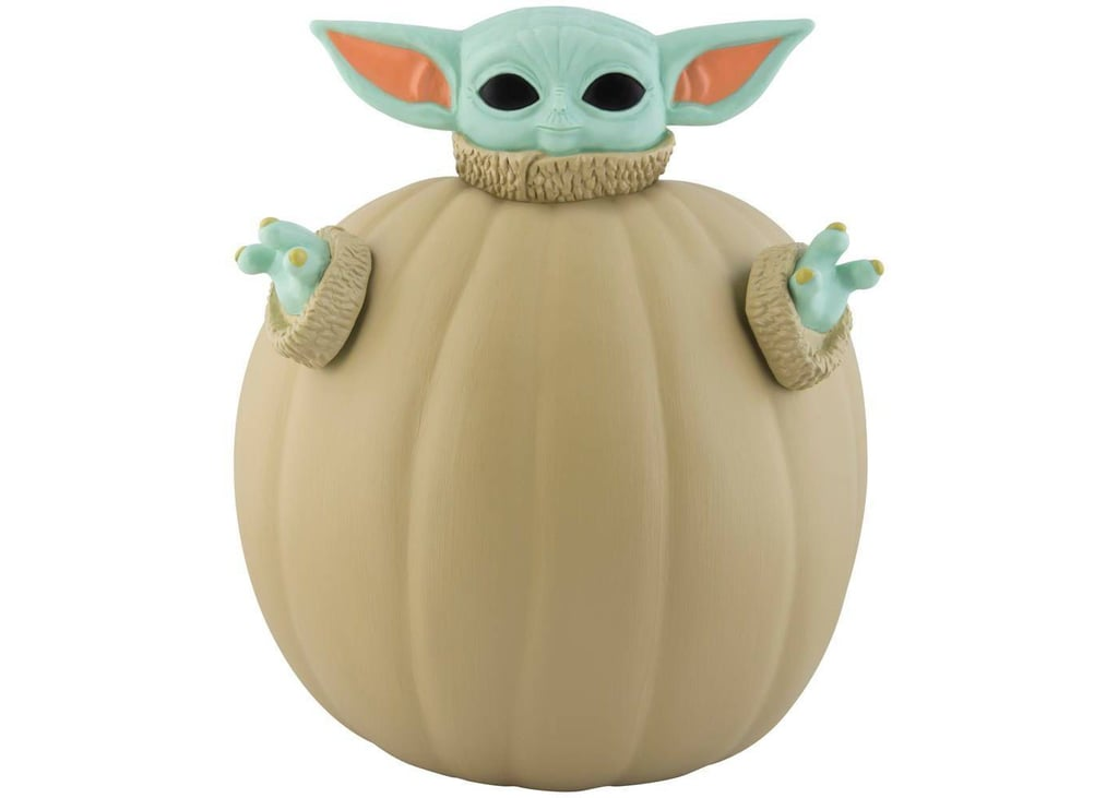 A Finished Pumpkin Using the Star Wars The Child Halloween Pumpkin Push-In Kit