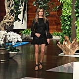 Jennifer Aniston on The Ellen DeGeneres Show in a Little Black Dress and Studded Sandals