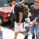 Casper Smart carried a backpack into their hotel.