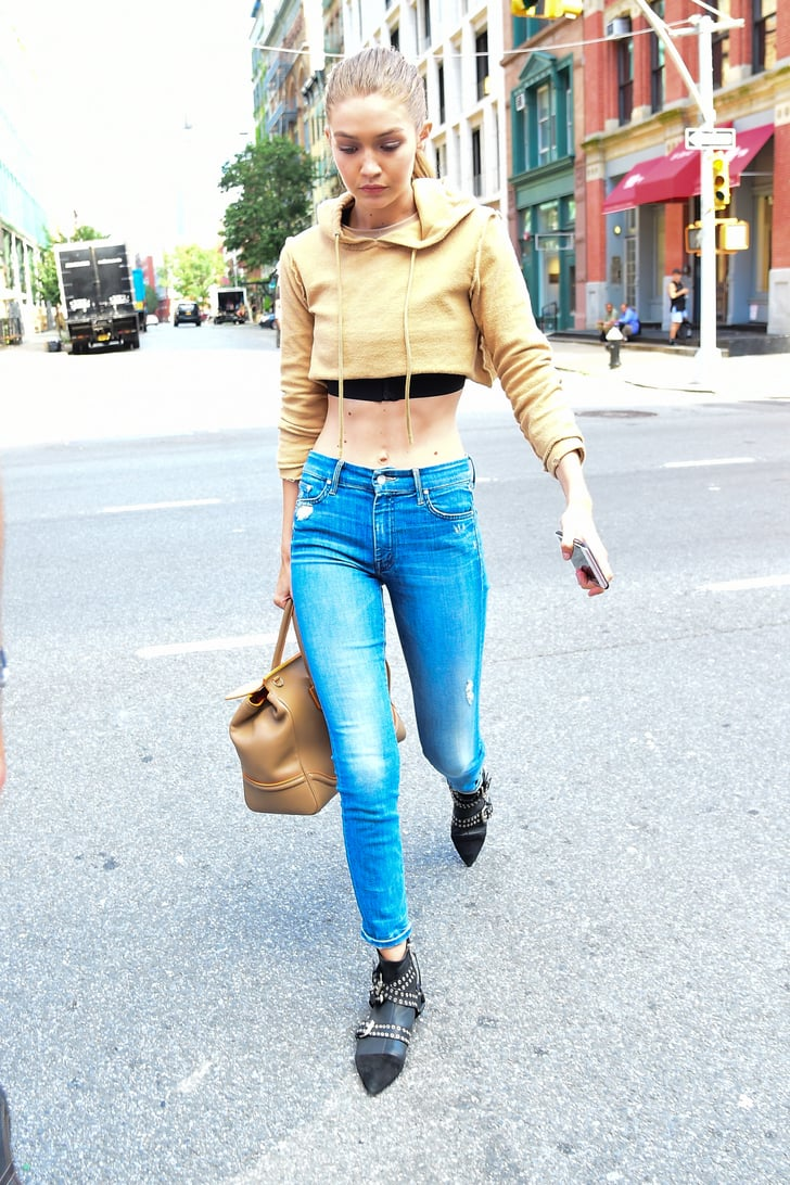 Gigi Hadid Models Wearing Skinny Jeans Popsugar