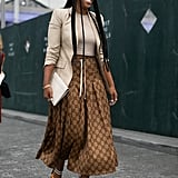Keep on Your Sandals, but Work Them With a Long Chocolate Skirt and Khaki-Colored Blazer