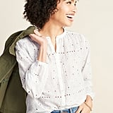 Old Navy Embroidered Eyelet Button-Front Blouse